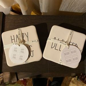 🆕 NWT Rae Dunn Coaster Set Happy Spring & Blessed